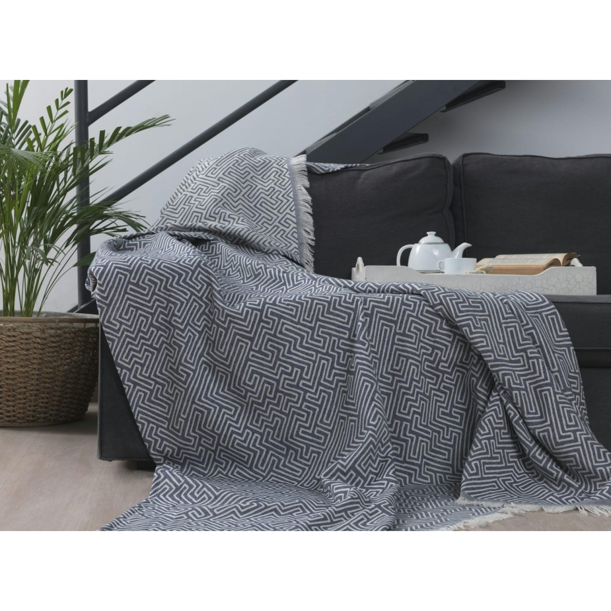 Patura din bumbac Elba E5 Grey, 220 x 240 cm imagine
