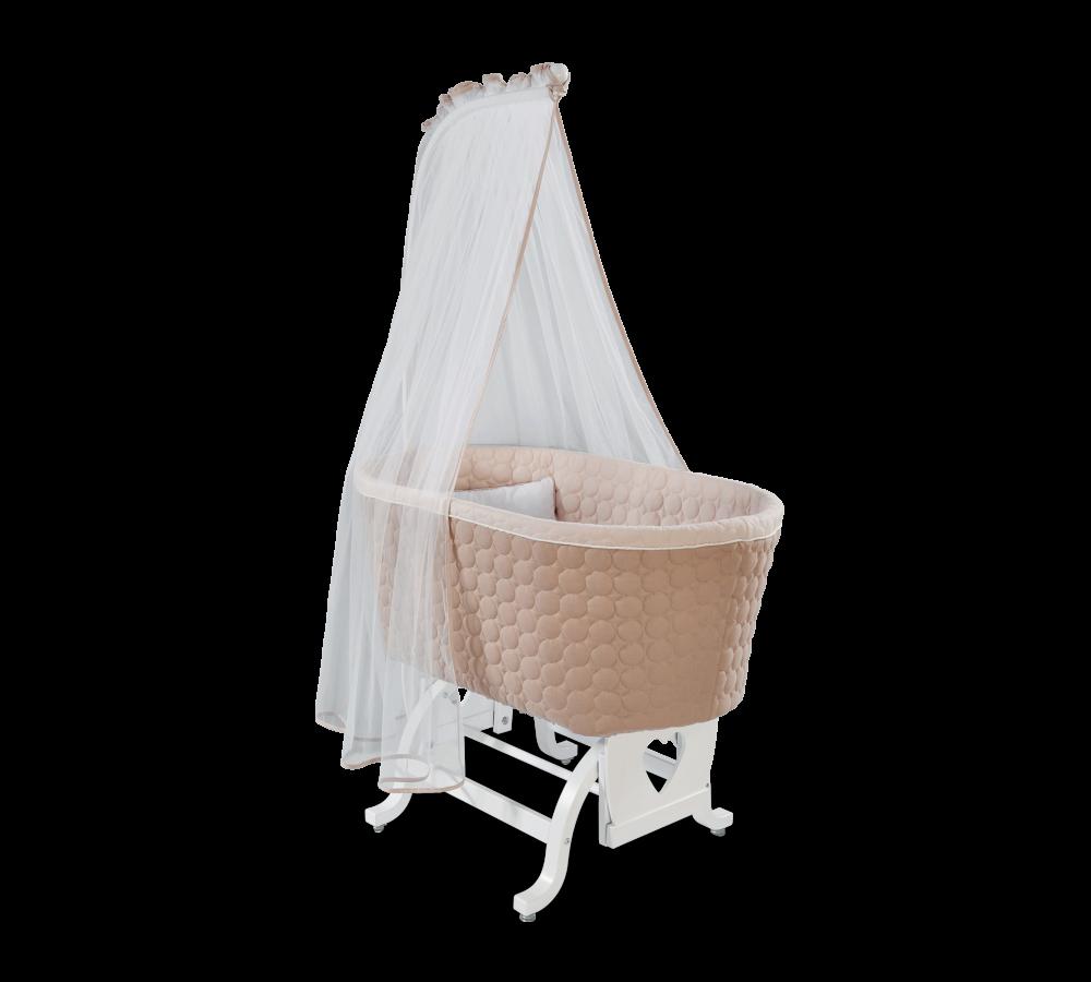 Patut cu sistem de leganare, pentru bebe Baby Cotton White / Cream, 80 x 45 cm imagine