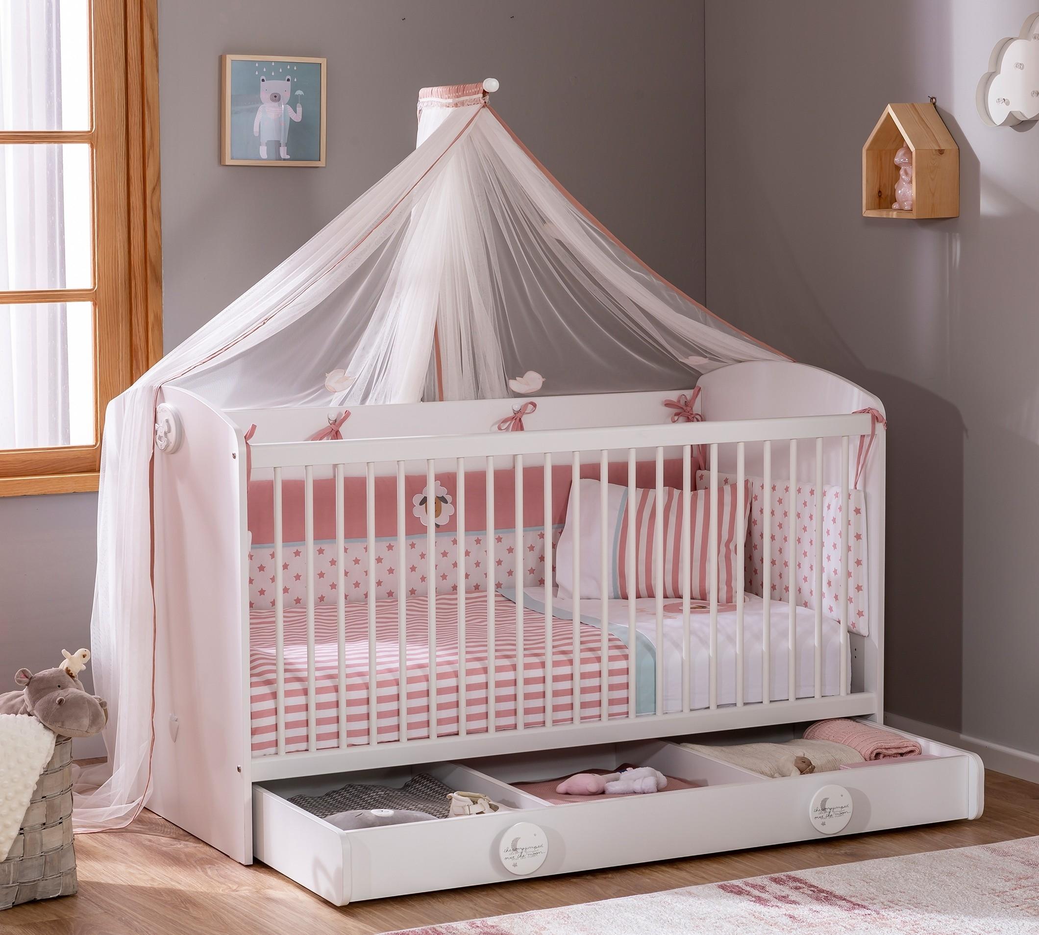 Patut din pal cu sertar pentru bebe Baby Cotton White, 140 x 70 cm poza