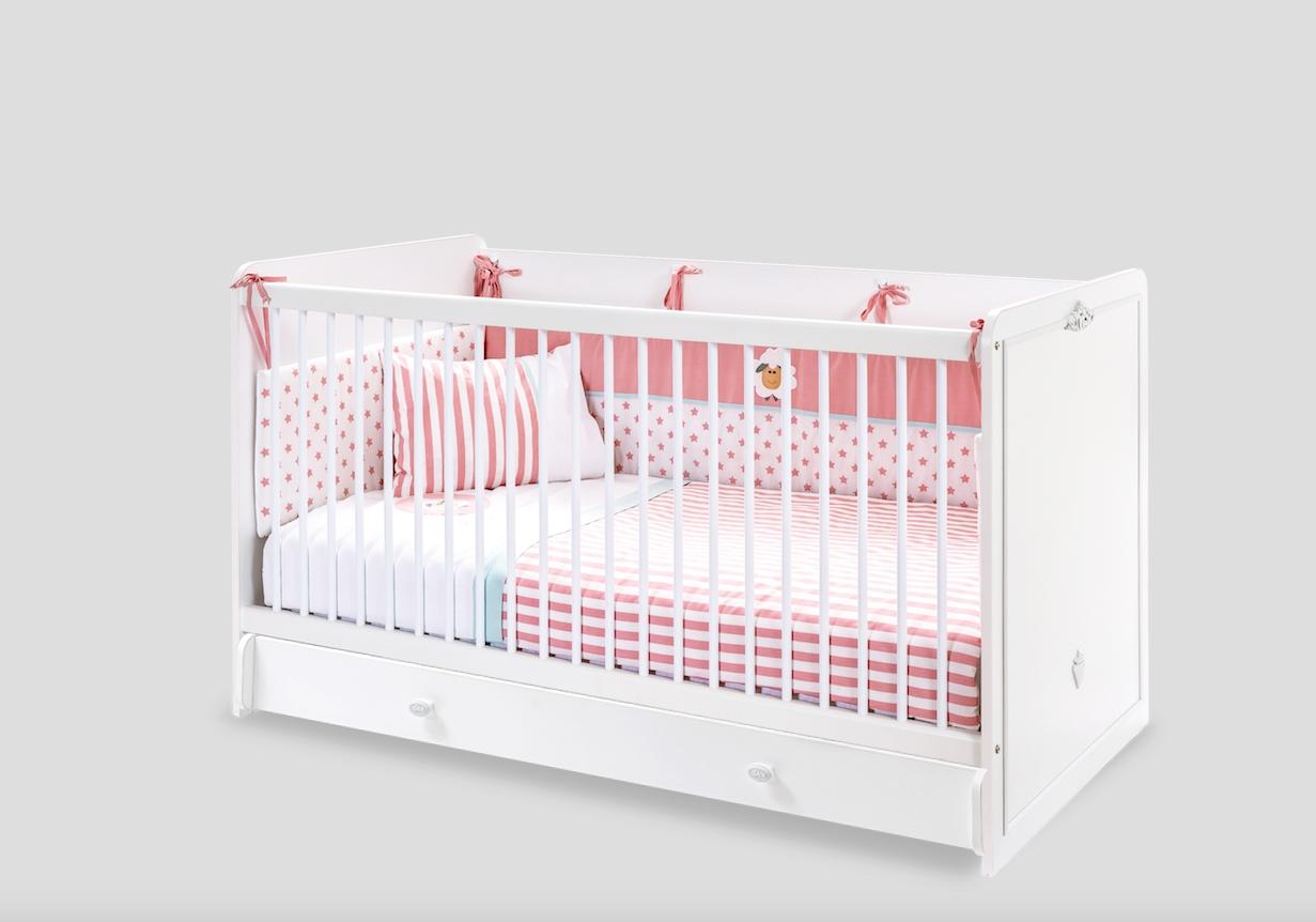 Patut din pal cu sertar pentru bebe Romantica Baby White 140 x 70 cm