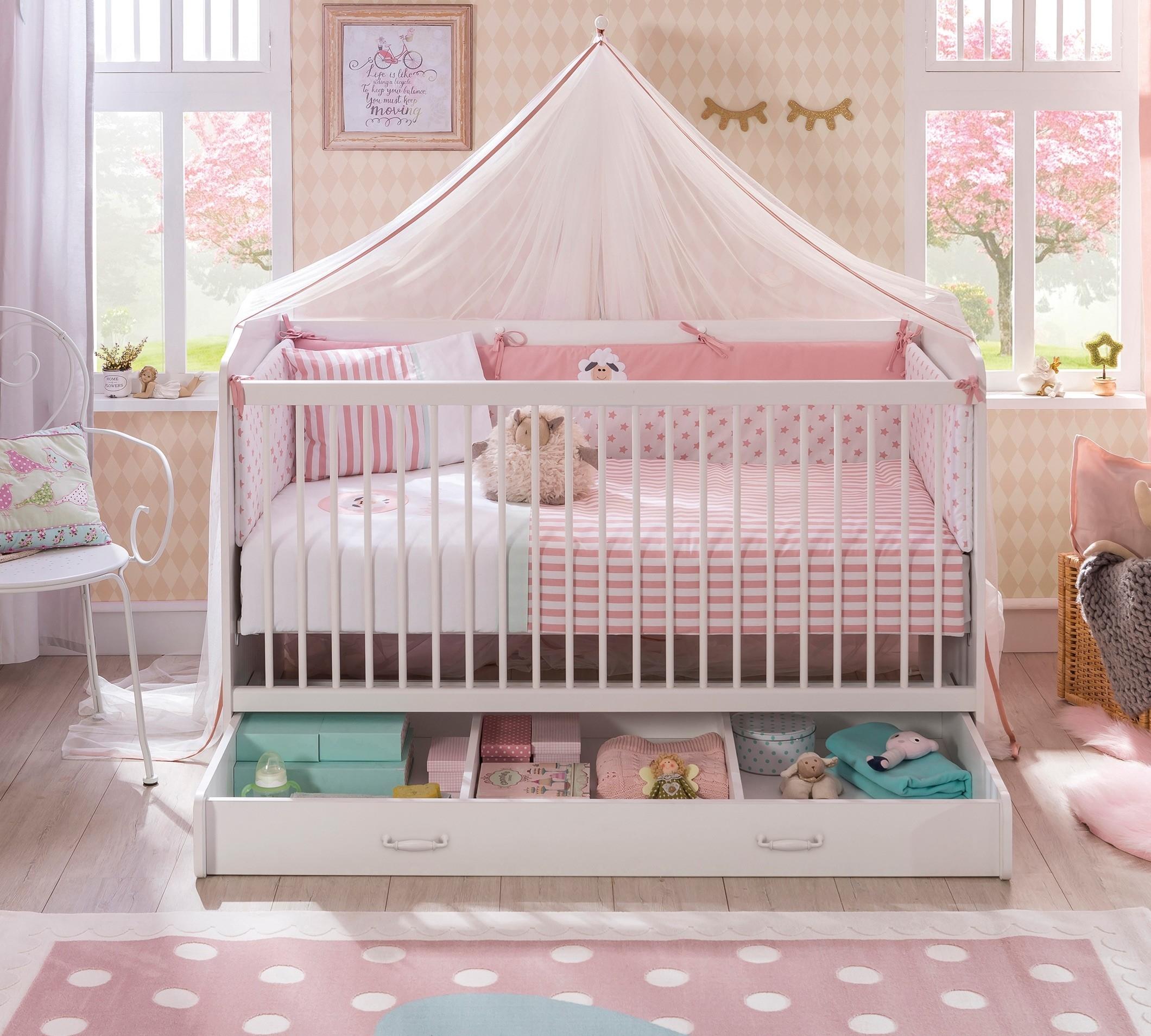Patut din pal cu sertar pentru bebe Selena Baby II White 140 x 70 cm
