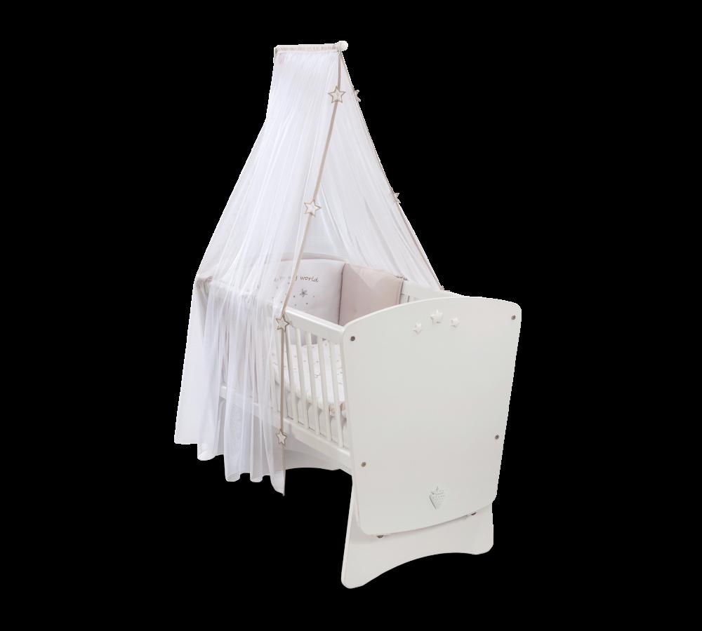Patut din pal cu sistem de leganare, pentru bebe Baby Cotton White, 90 x 45 cm poza