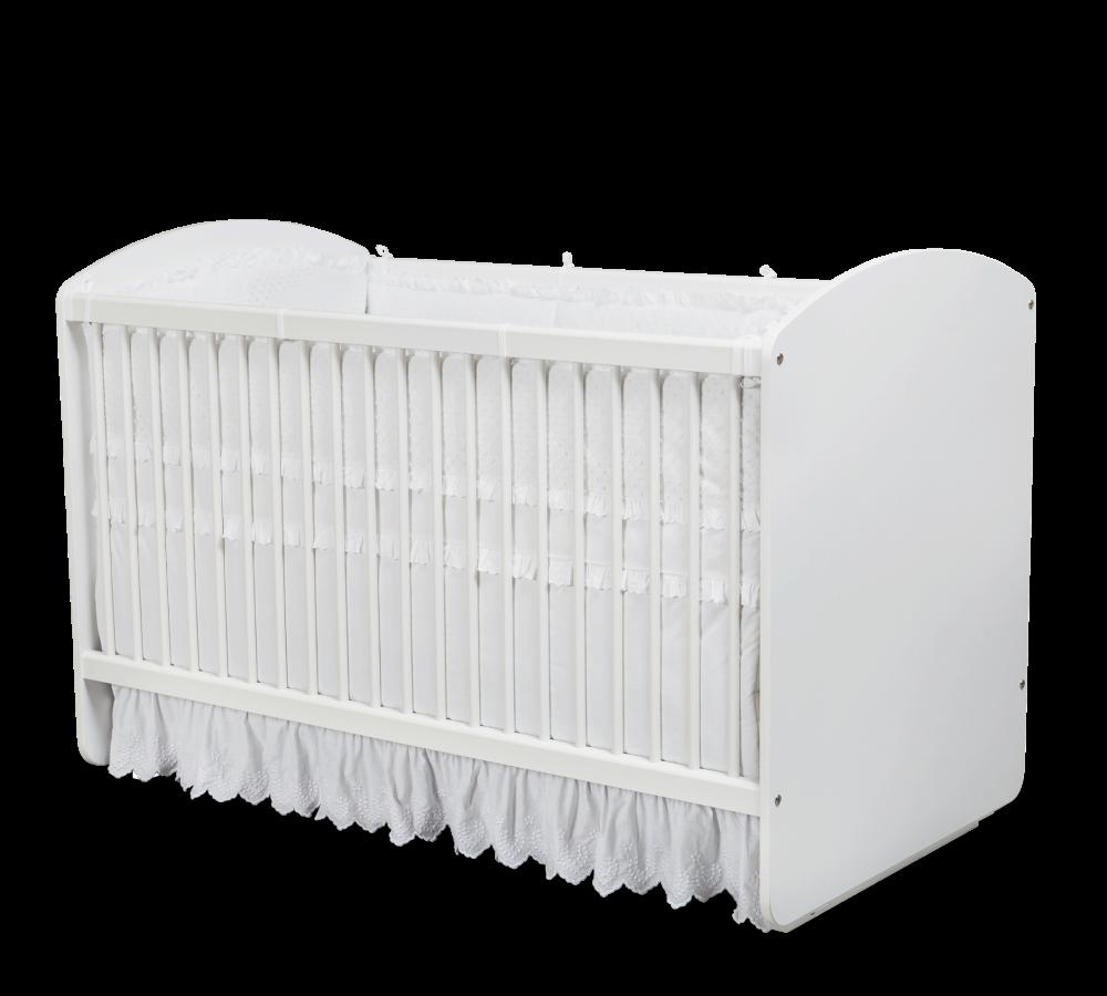 Patut din pal cu sistem de leganare pentru bebe Romantic Baby White 130 x 70 cm