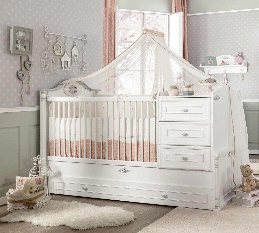 Patut transformabil cu sertar din pal, pentru bebe Romantic Baby White, 180 x 80 cm somproduct.ro