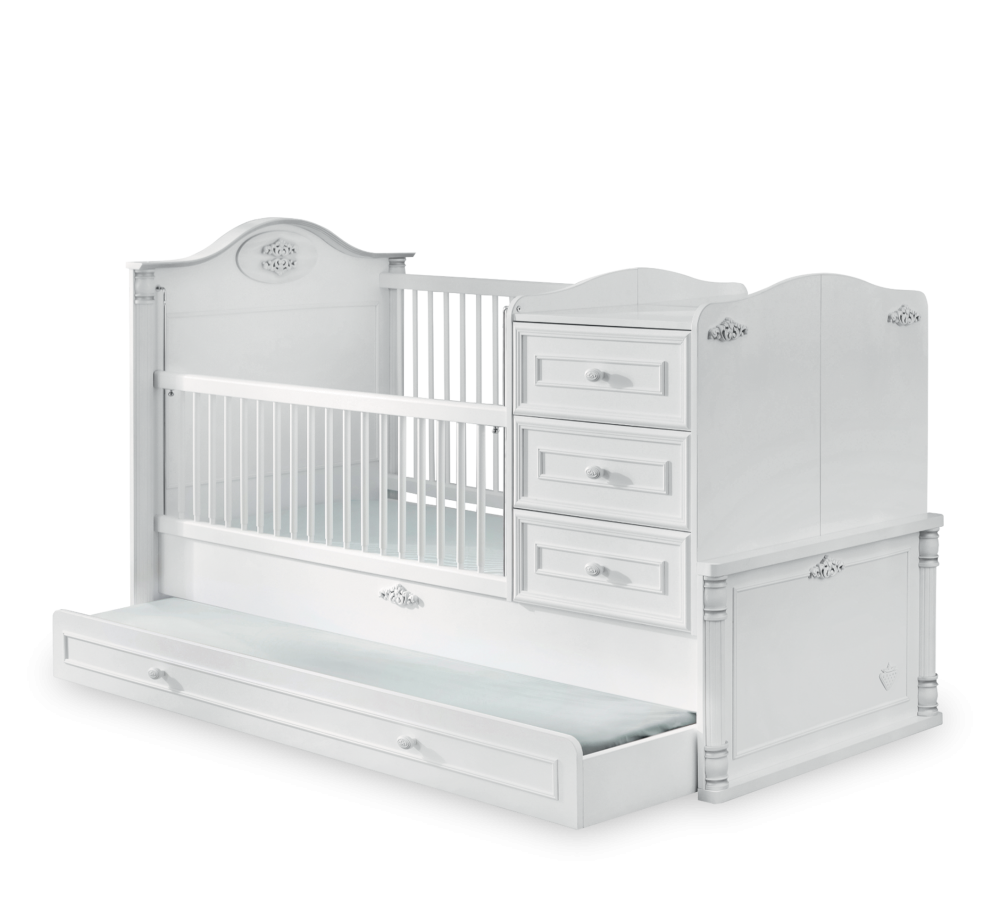 Patut transformabil cu sertar din pal pentru bebe Romantic Baby White 180 x 80 cm