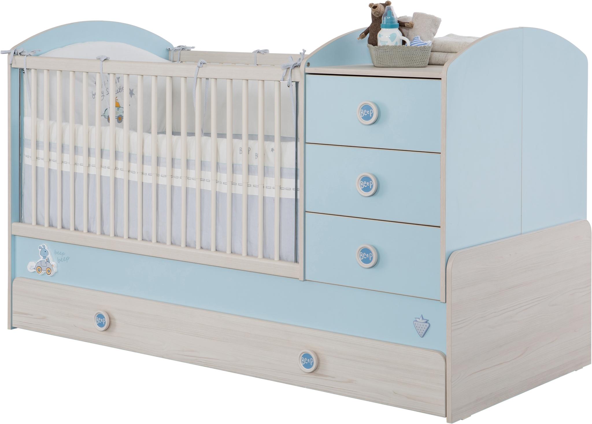 Patut transformabil din pal cu sertar pentru bebe Baby Boy Light Blue / Nature 180 x 80 cm