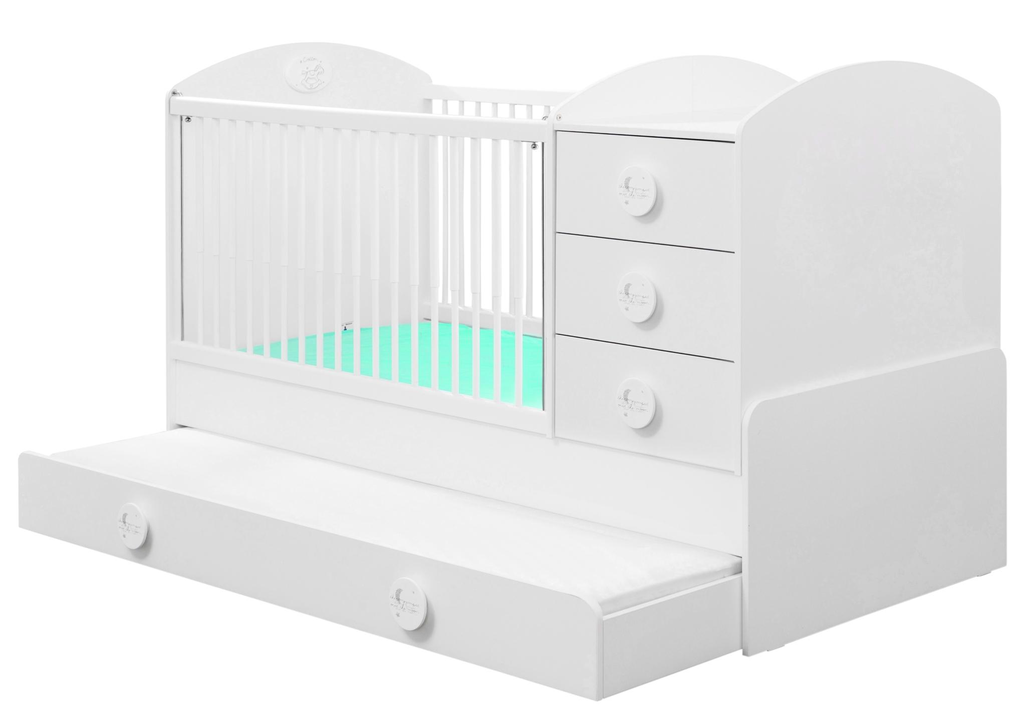 Patut transformabil din pal cu sertar pentru bebe Baby Cotton White 180 x 80 cm