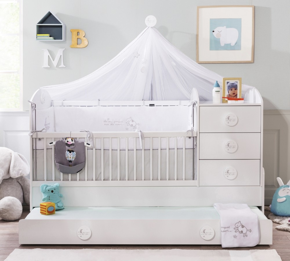 Patut transformabil din pal cu sertar, pentru bebe Baby Cotton Alb, 180 x 80 cm
