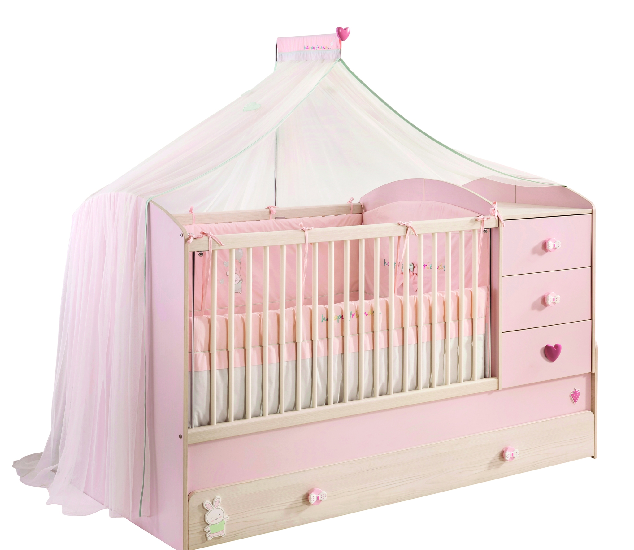 Patut transformabil din pal cu sertar, pentru bebe Baby Girl Light Pink / Nature, 180 x 80 cm imagine