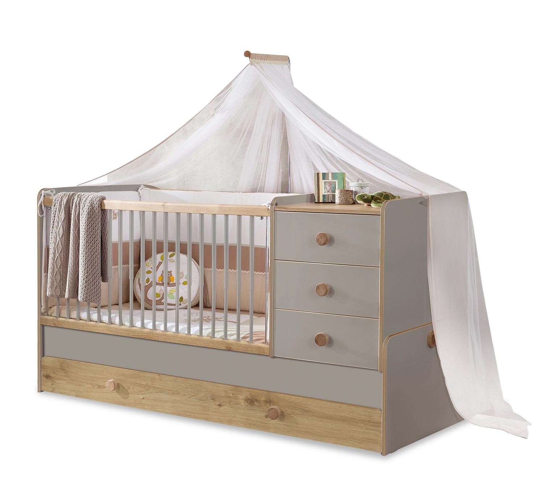 Patut transformabil din pal cu sertar, pentru bebe Baby Grey / Natural, 180 x 80 cm