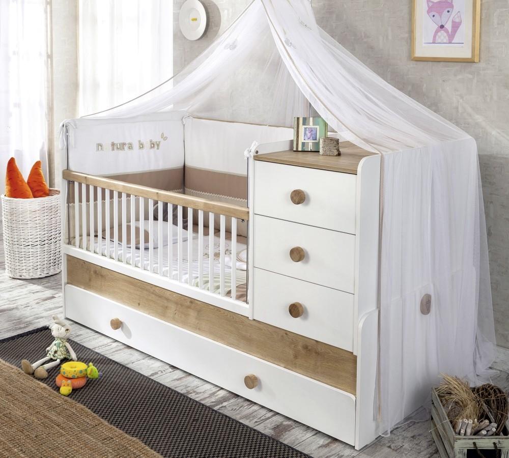 Patut transformabil din pal cu sertar, pentru bebe Natura Baby White / Nature, 180 x 80 cm poza