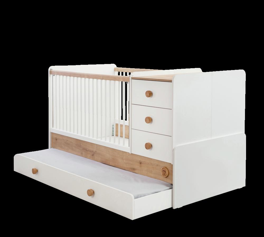 Patut transformabil din pal cu sertar pentru bebe Natura Baby White / Nature 180 x 80 cm