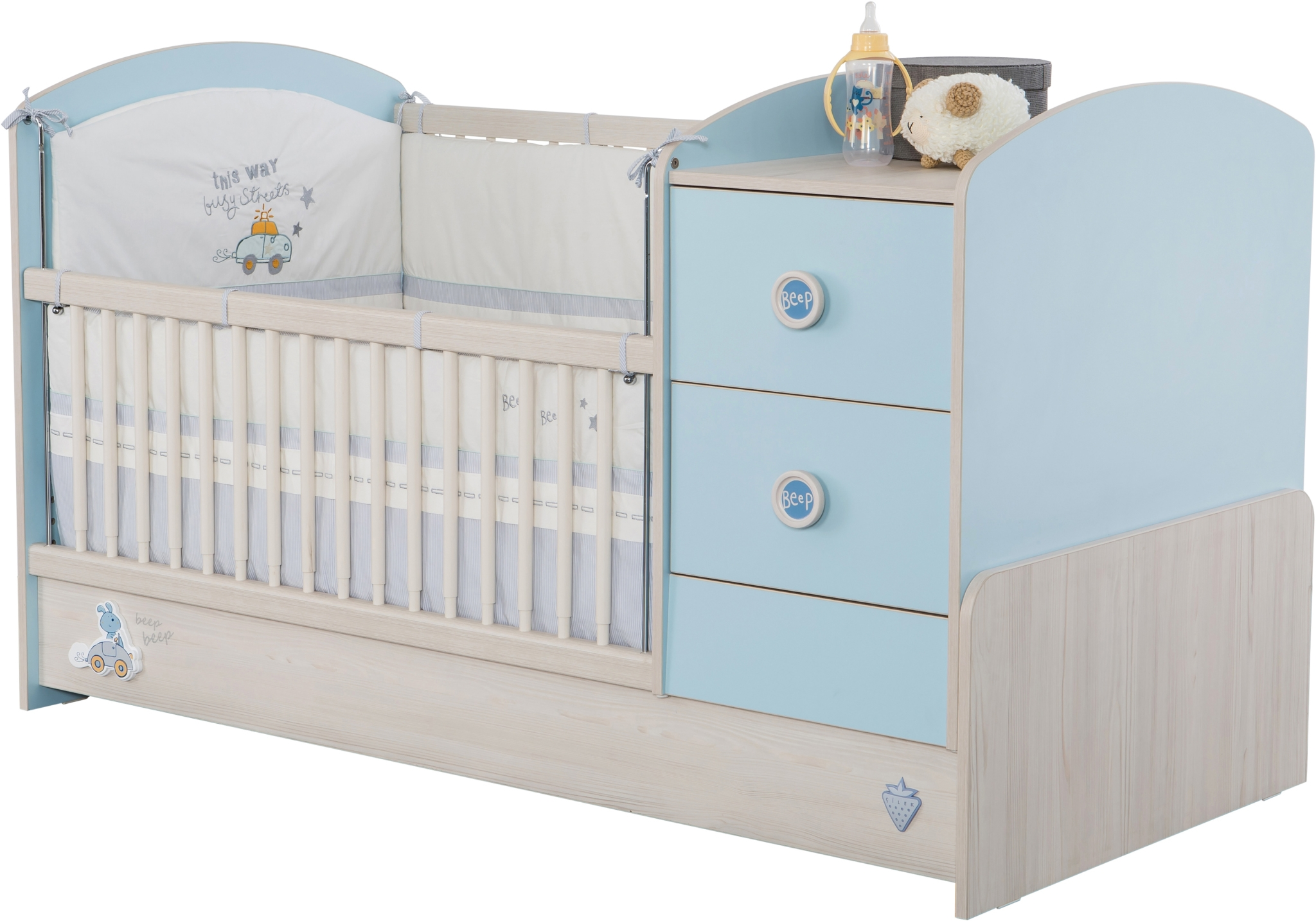 Patut transformabil din pal pentru bebe Baby Boy Light Blue / Nature 160 x 75 cm