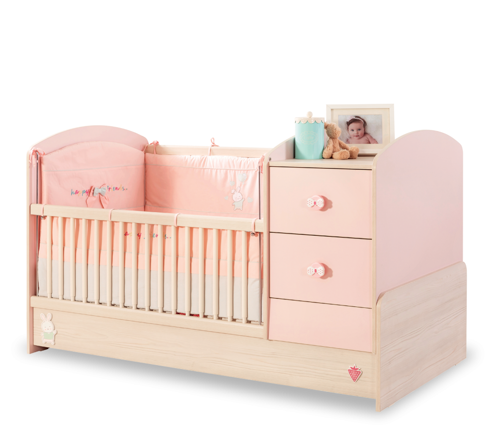 Patut transformabil din pal pentru bebe Baby Girl Light Pink / Nature 160 x 75 cm