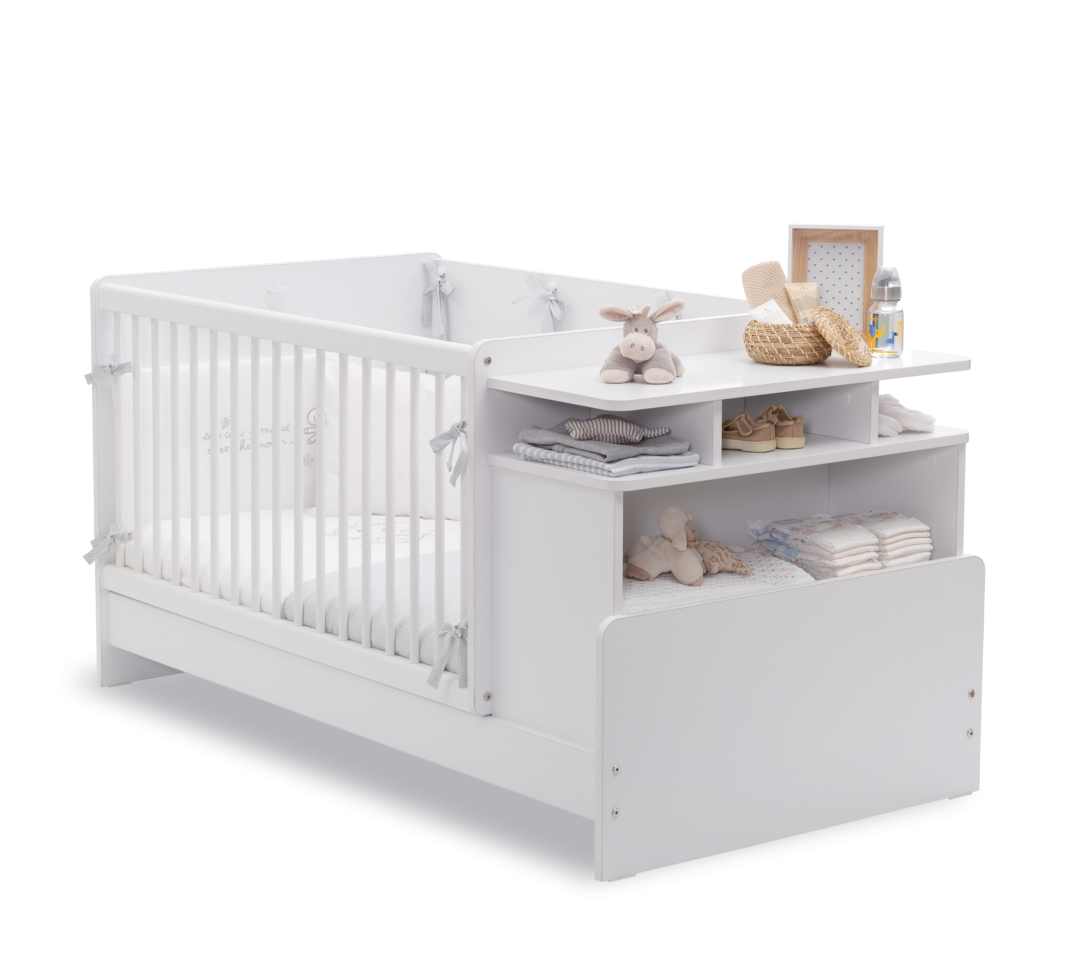 Patut transformabil din pal pentru bebe Masali Baby Alb 110 x 70 cm