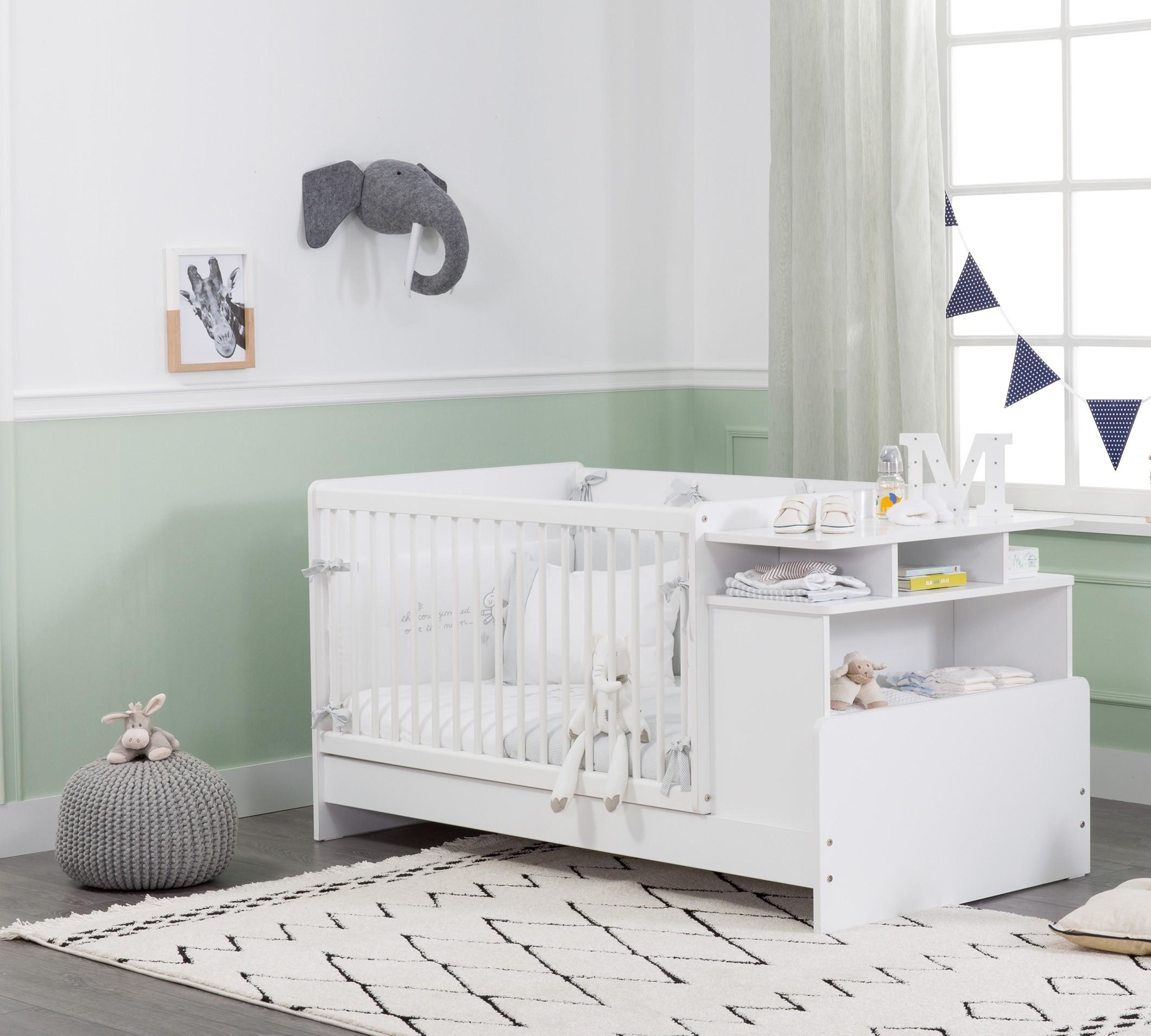 Patut transformabil din pal, pentru bebe Masali Baby Alb, 110 x 70 cm somproduct.ro