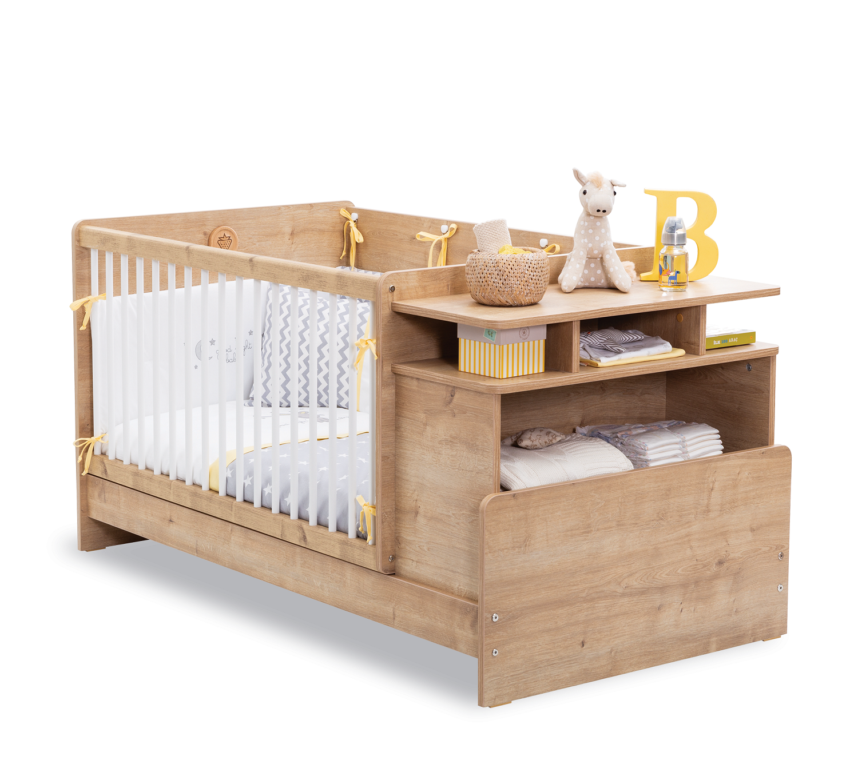 Patut transformabil din pal pentru bebe Masali Baby Stejar 110 x 70 cm