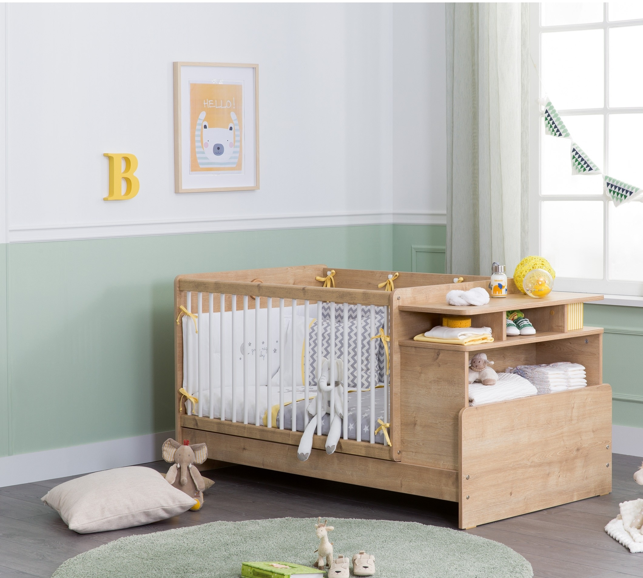 Patut transformabil din pal, pentru bebe Masali Baby Stejar, 110 x 70 cm poza