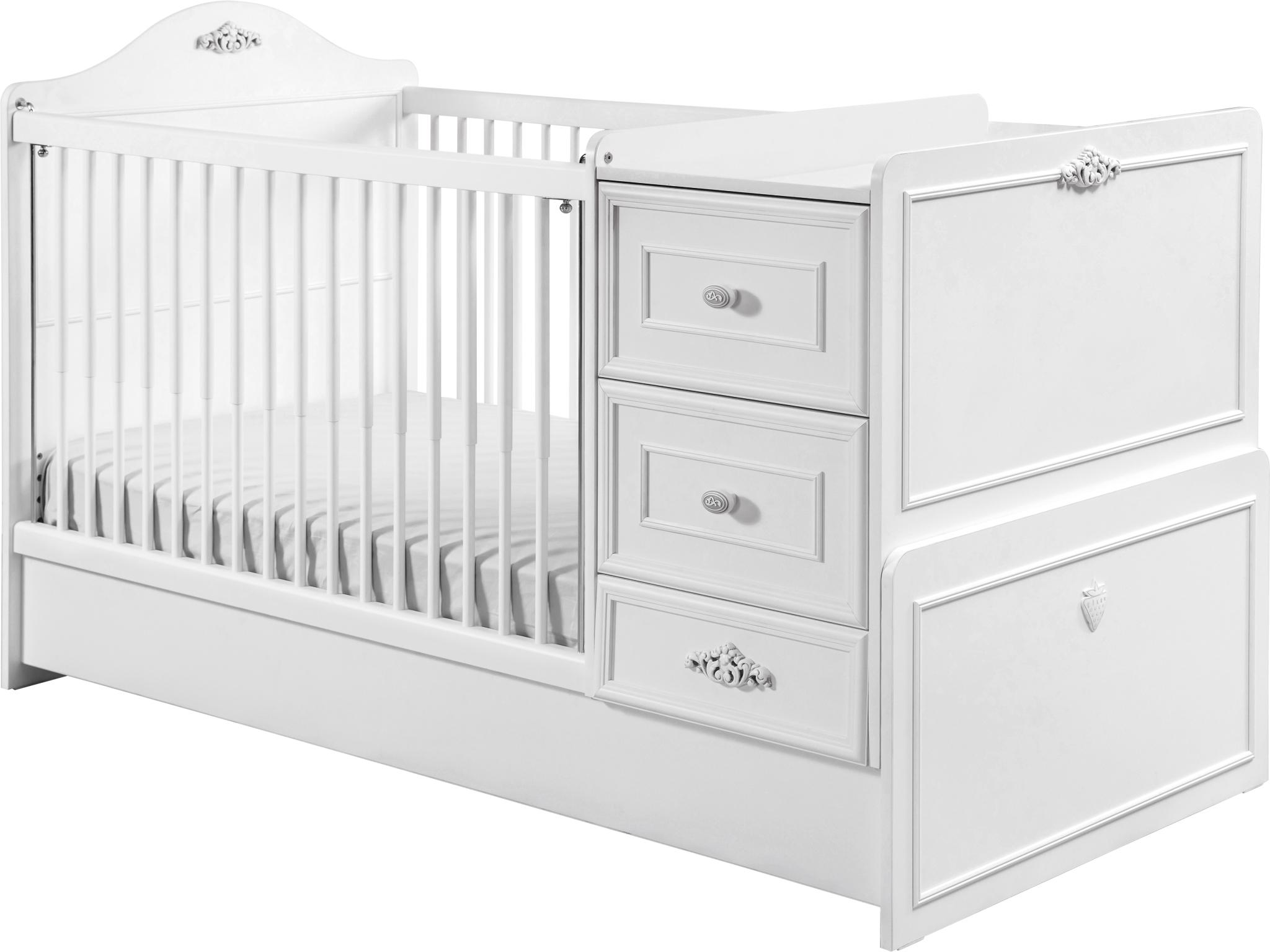 Patut transformabil din pal pentru bebe Romantic Baby White 160 x 75 cm