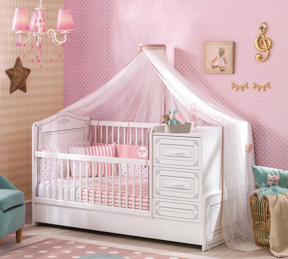 Patut transformabil din pal, pentru bebe Selena Baby Alb, 160 x 75 cm poza