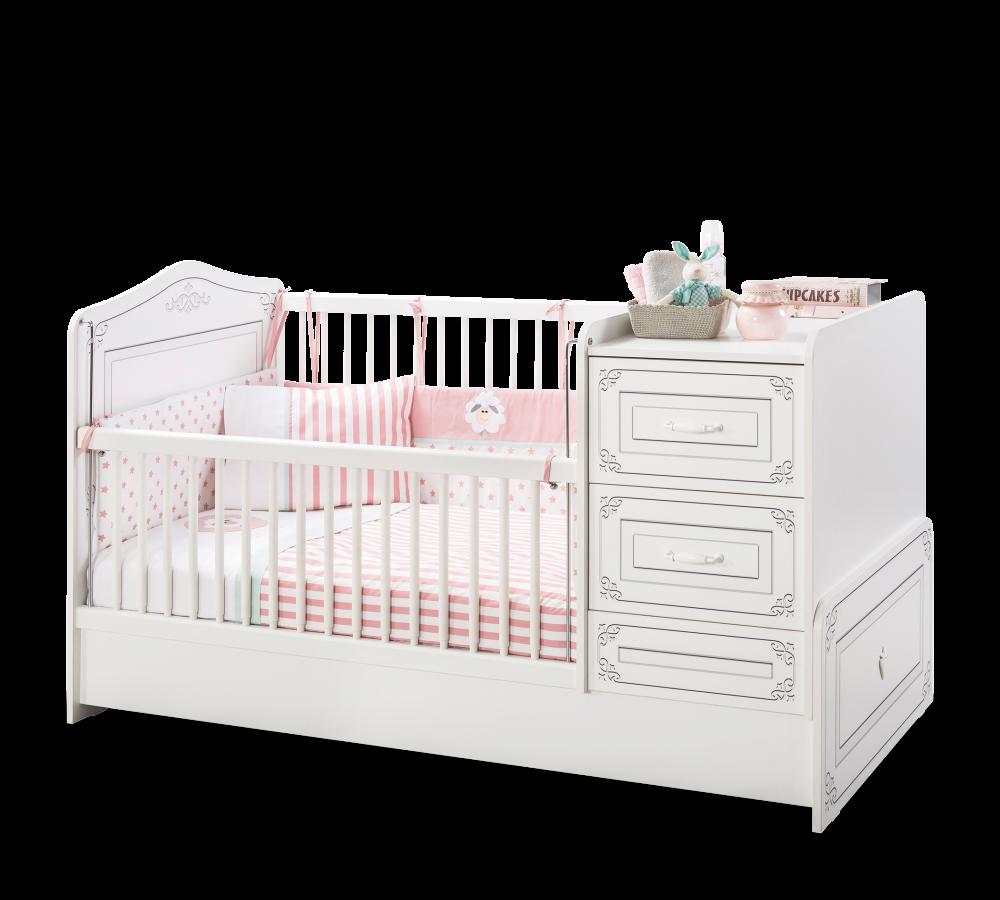 Patut transformabil din pal pentru bebe Selena Baby White 160 x 75 cm