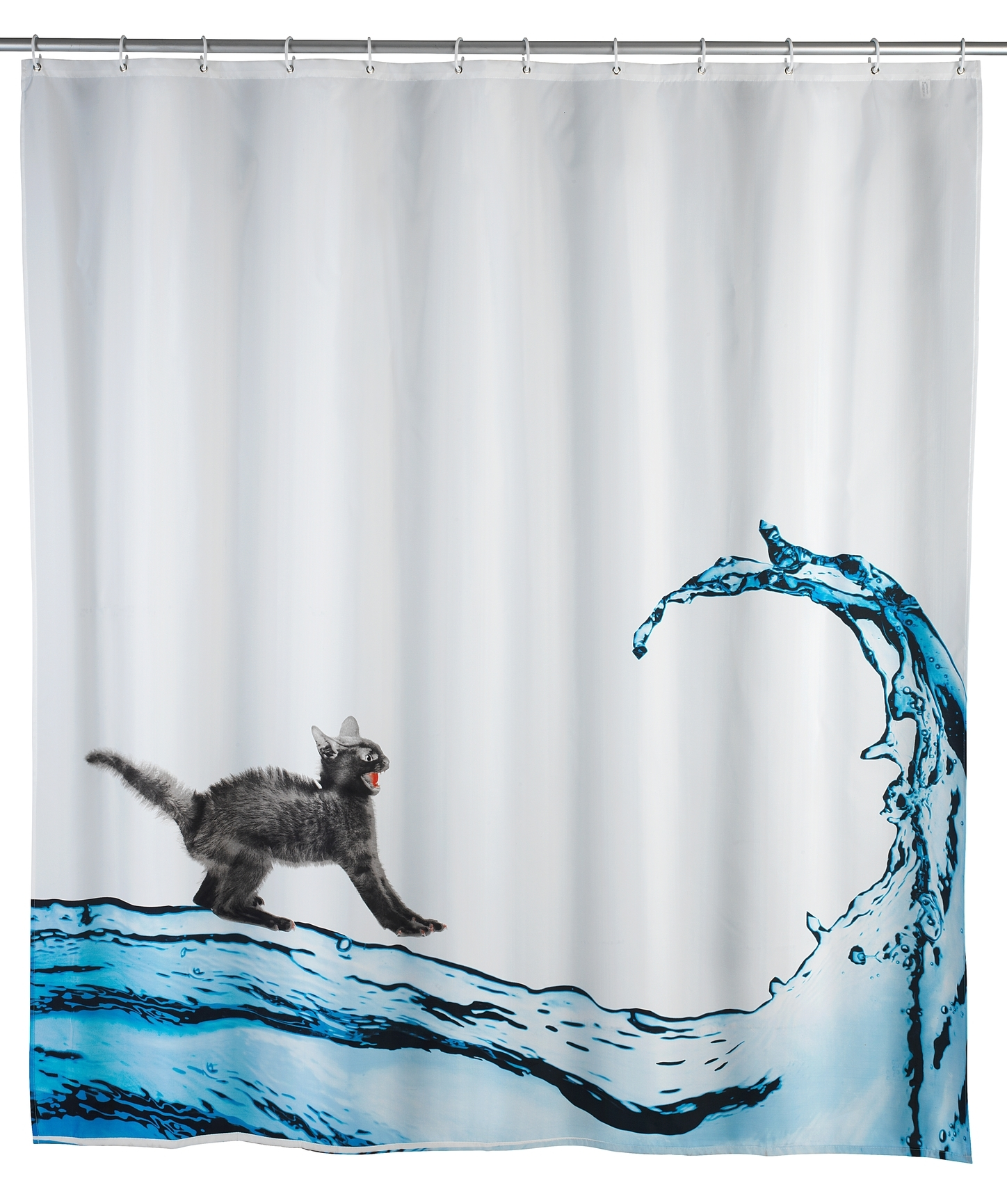 Perdea dus anti-mucegai din poliester, Cat Alb, 180 x 200 cm imagine