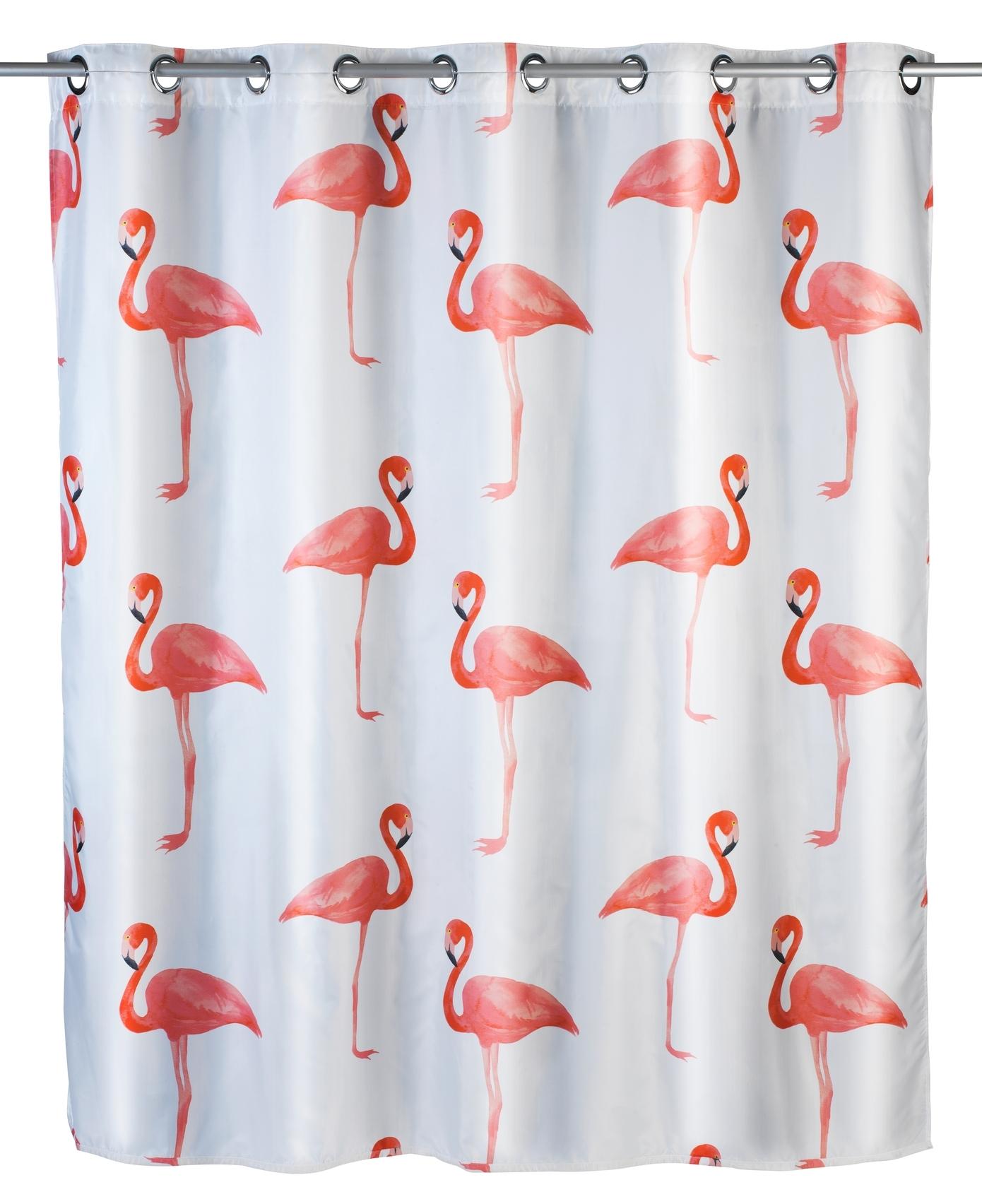 Perdea dus anti-mucegai din poliester, Flamingo Multicolor, 180 x 200 cm somproduct.ro