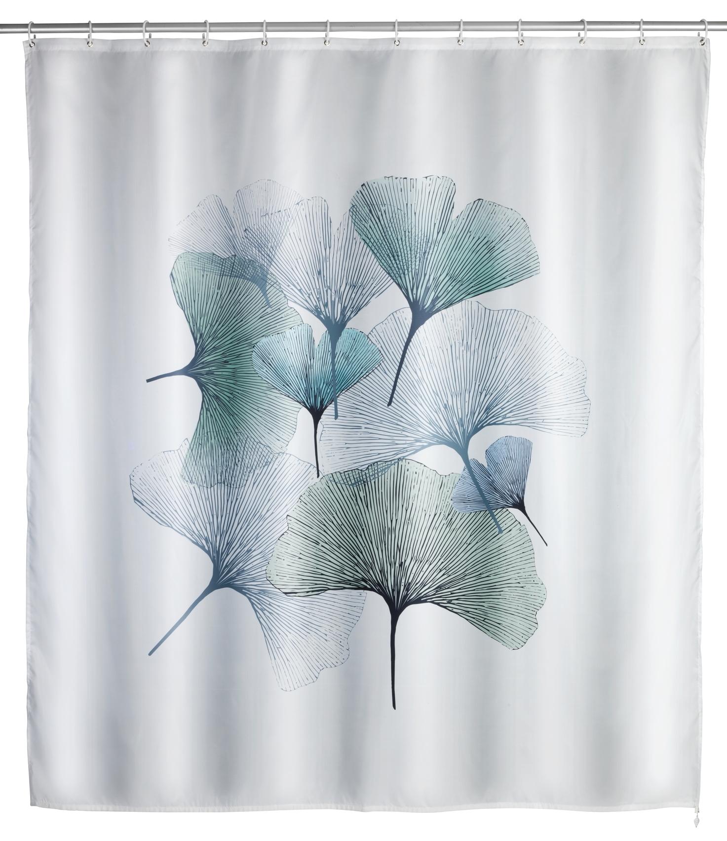 Perdea dus anti-mucegai din poliester, Ginkgo Alb, 180 x 200 cm poza