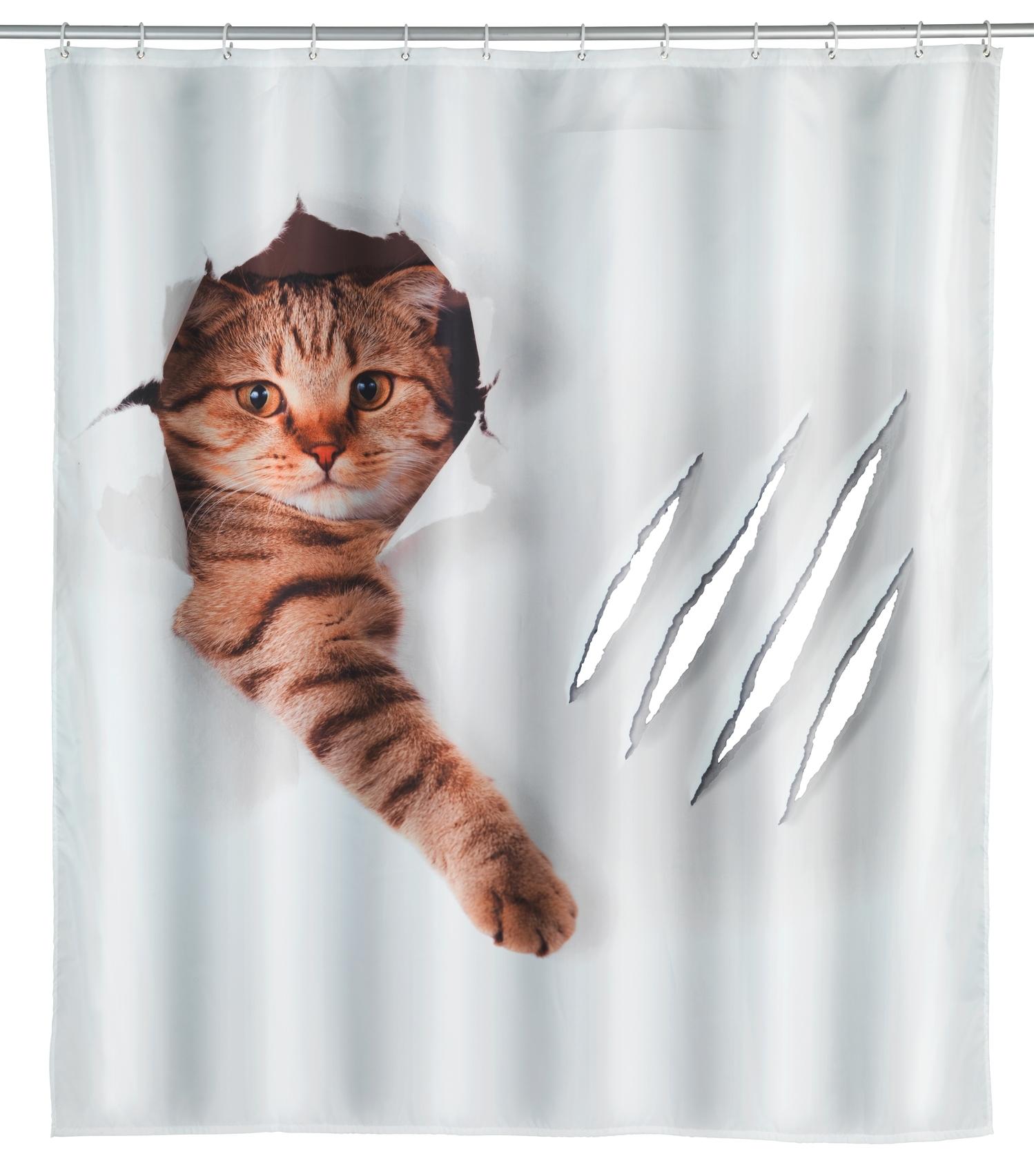 Perdea dus din poliester, Cute Cat Alb, 180 x 200 cm
