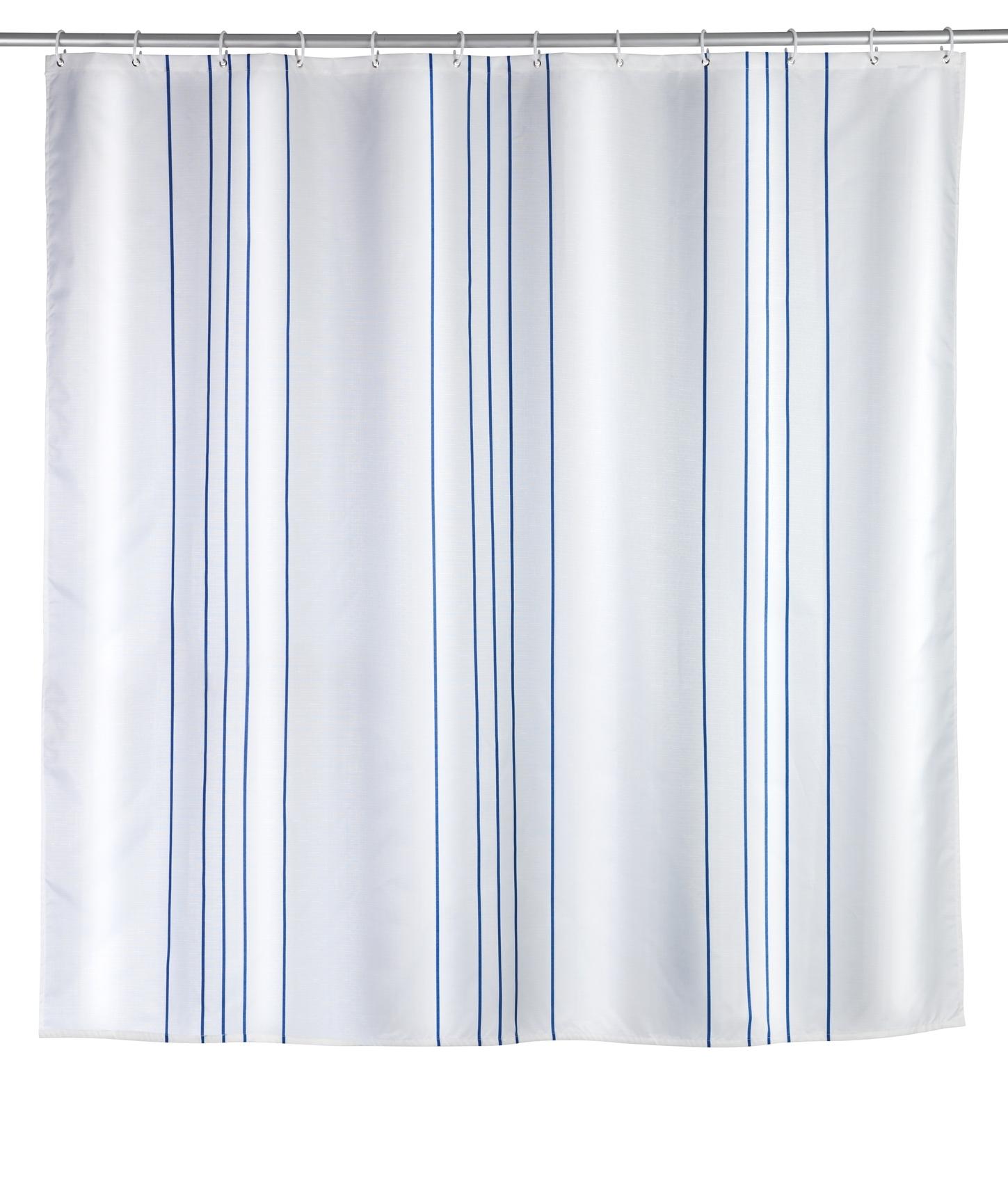 Perdea dus din poliester, Linen Alb / Albastru, 180 x 200 cm imagine
