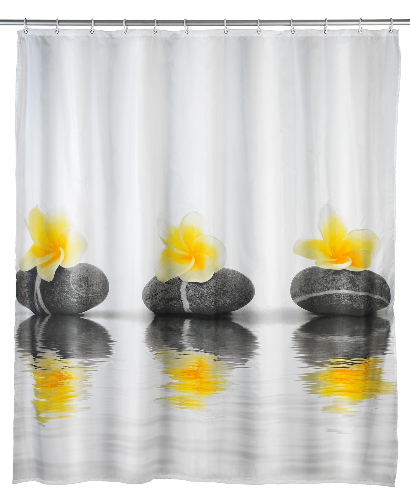 Perdea dus din poliester, Stones and Flower Alb, 180 x 200 cm