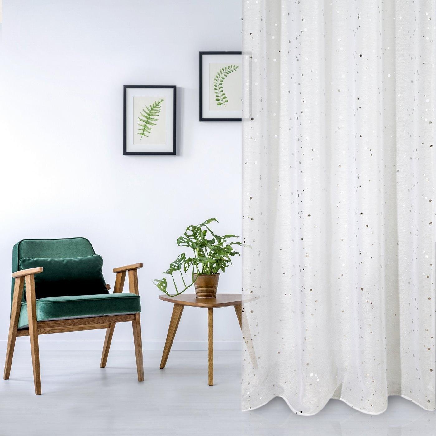 Perdea Pia Alb / Argintiu, 140 x 250 cm, 1 bucata poza