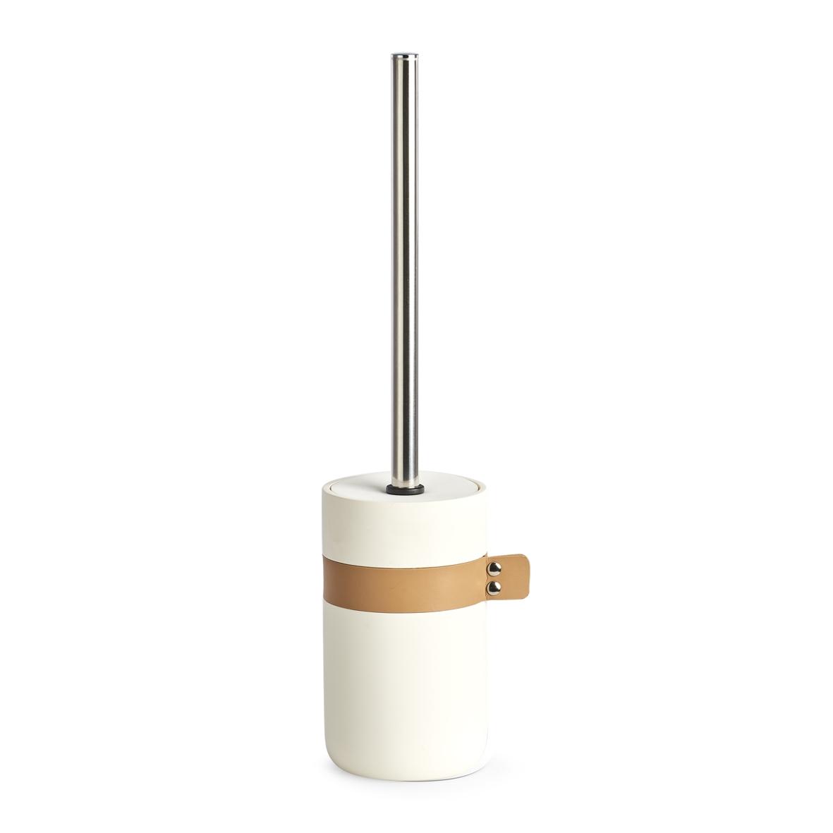 Perie de toaleta cu suport din polirasina, Leather Crem, Ø9,2xH40 cm