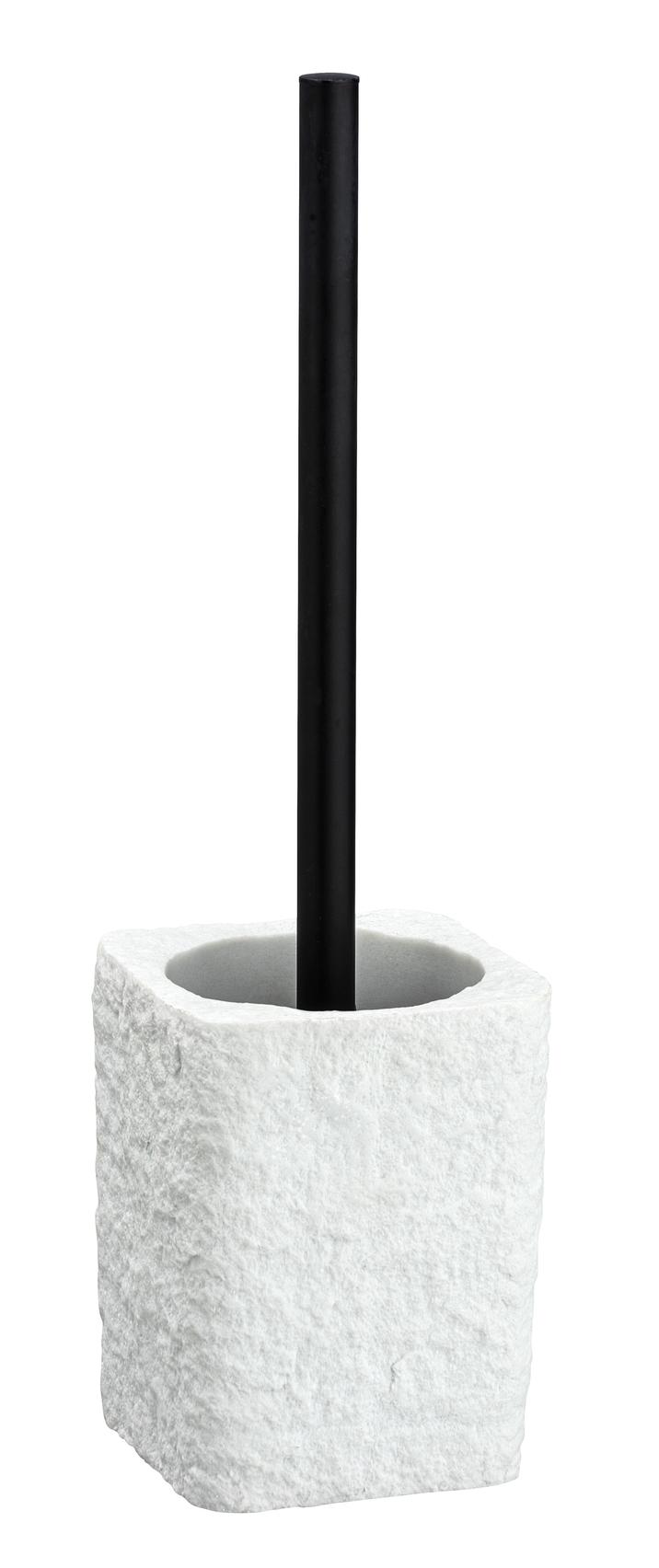 Perie de toaleta cu suport din polirasina, Villata Alb, L11,2xl10xH37 cm poza