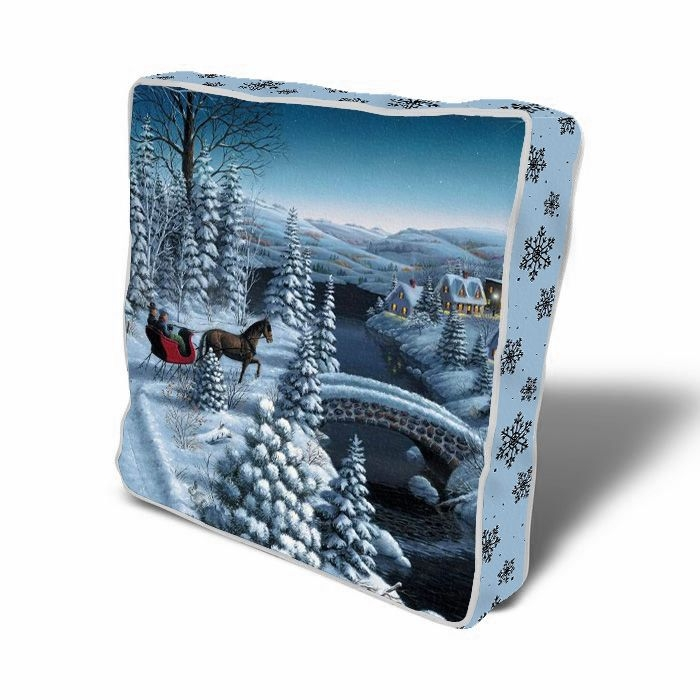 Perna de sezut decorativa Winter Landscape Multicolor, L43xl43 cm