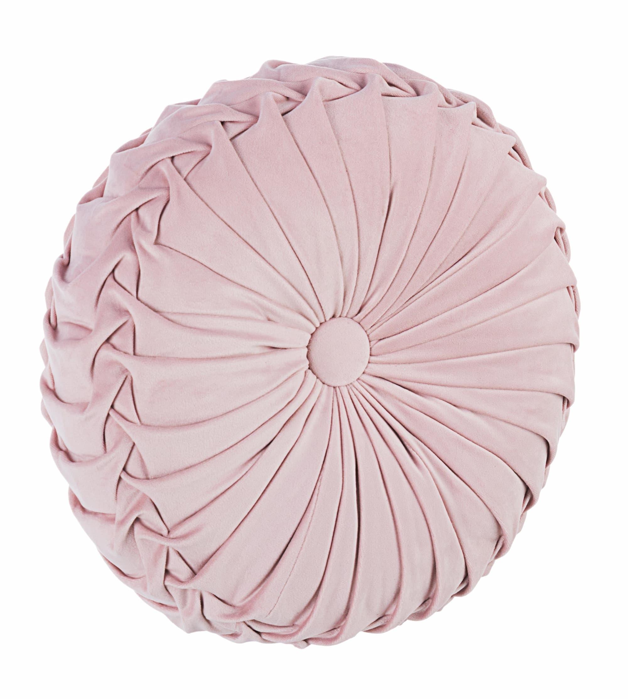 Perna decorativa Chantal Round Velvet Roz, Ø35xH15 cm