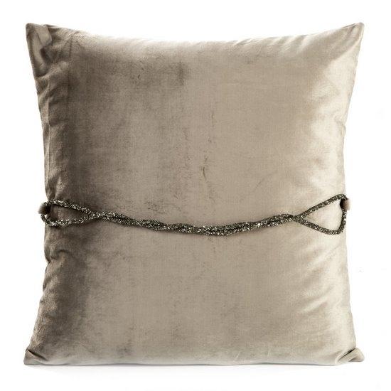 Set 2 perne decorative cu huse detasabile Calista Velvet Grej, 45 x 45 cm
