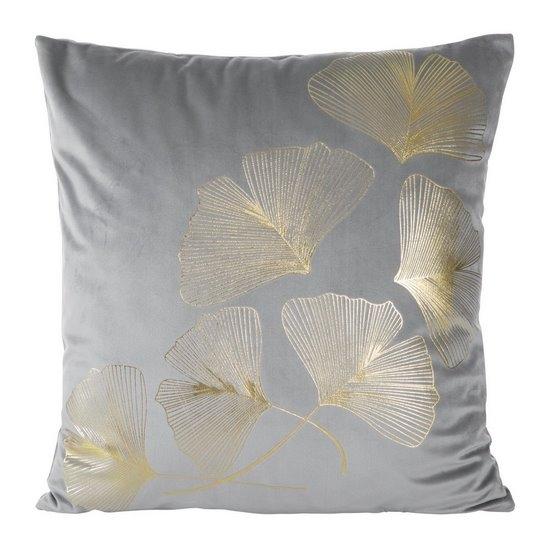 Perna decorativa cu husa detasabila Ginko Velvet Argintiu / Auriu, 45 x 45 cm imagine
