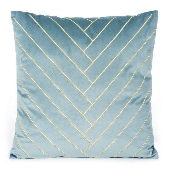 Set 2 perne decorative cu huse detasabile Mandy Velvet Bleu, 45 x 45 cm imagine