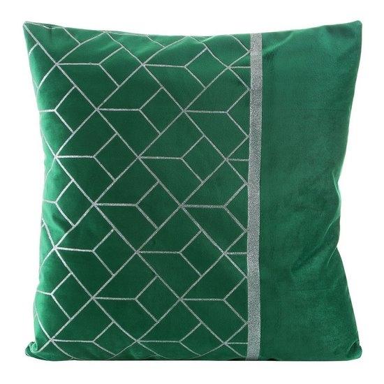 Set 2 perne decorative cu huse detasabile Milagros Velvet Verde, 45 x 45 cm poza