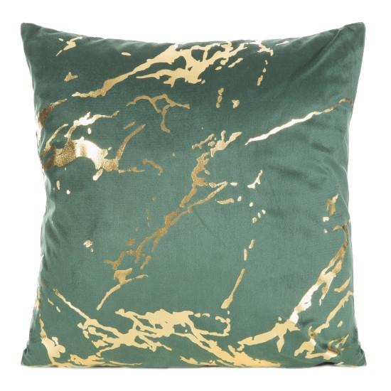 Perna decorativa cu husa detasabila Mink Velvet Verde / Auriu, 45 x 45 cm poza