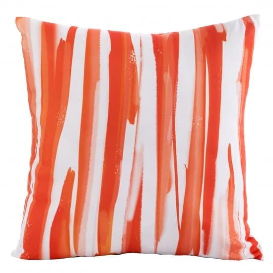 Perna decorativa cu husa detasabila Strips Rosu / Alb, 45 x 45 cm poza