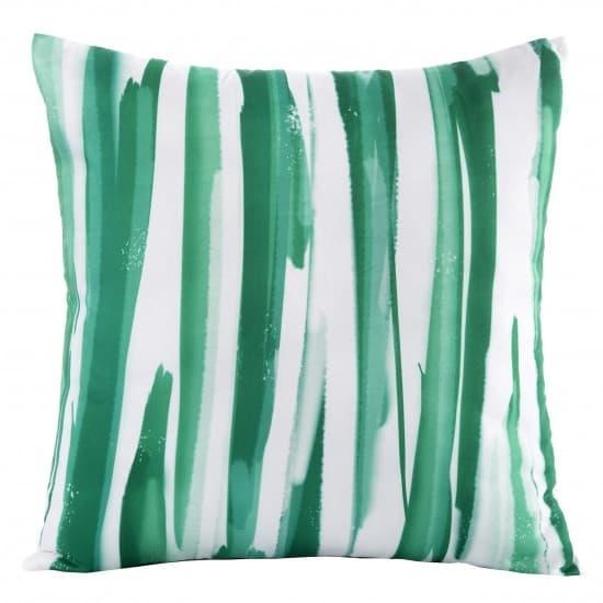 Perna decorativa cu husa detasabila Strips Verde / Alb, 45 x 45 cm imagine