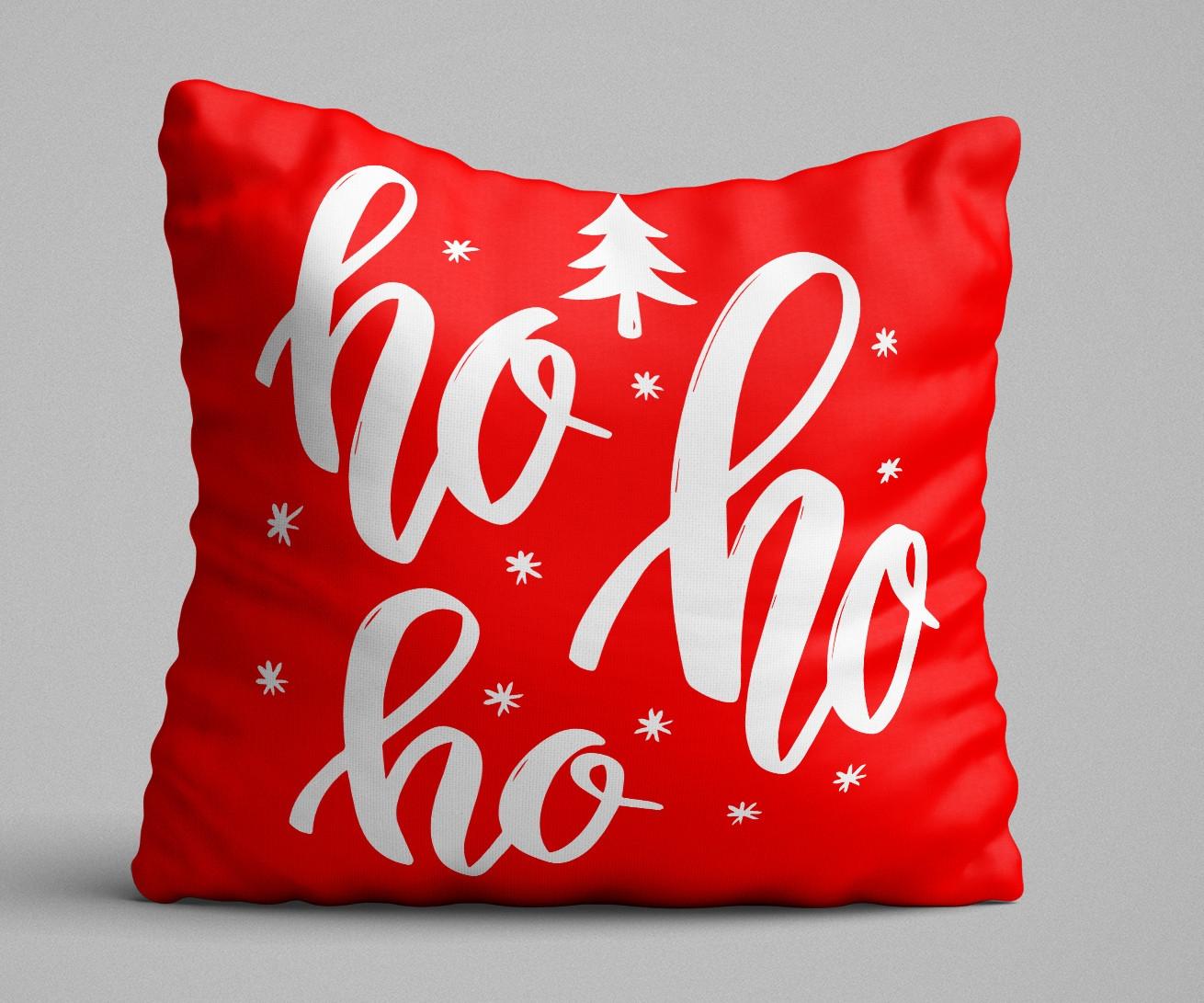 Perna decorativa Ho Ho Ho Rosu / Alb, L43xl43 cm