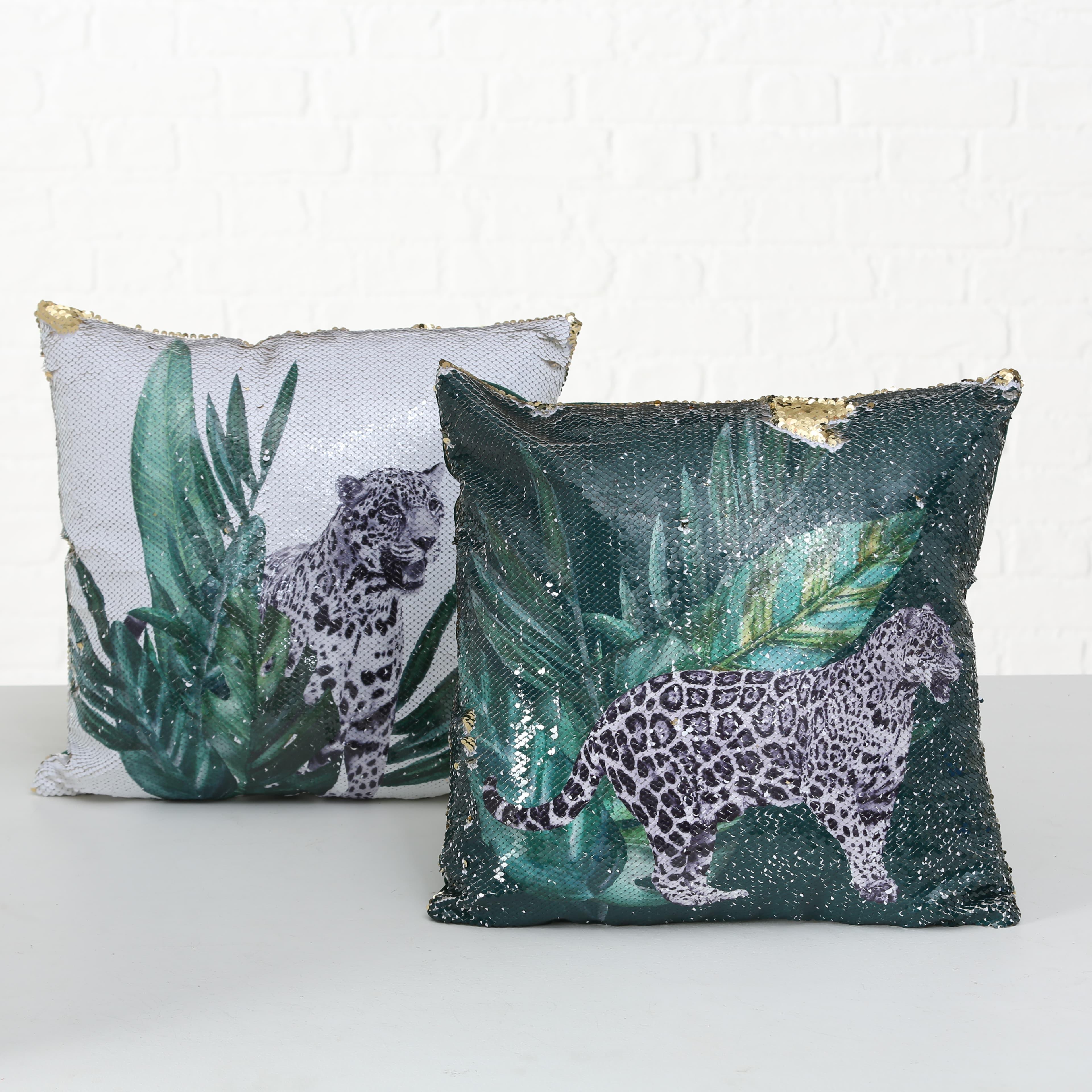 Perna decorativa Leopard Verde, Modele Asortate, L40xl40 cm imagine