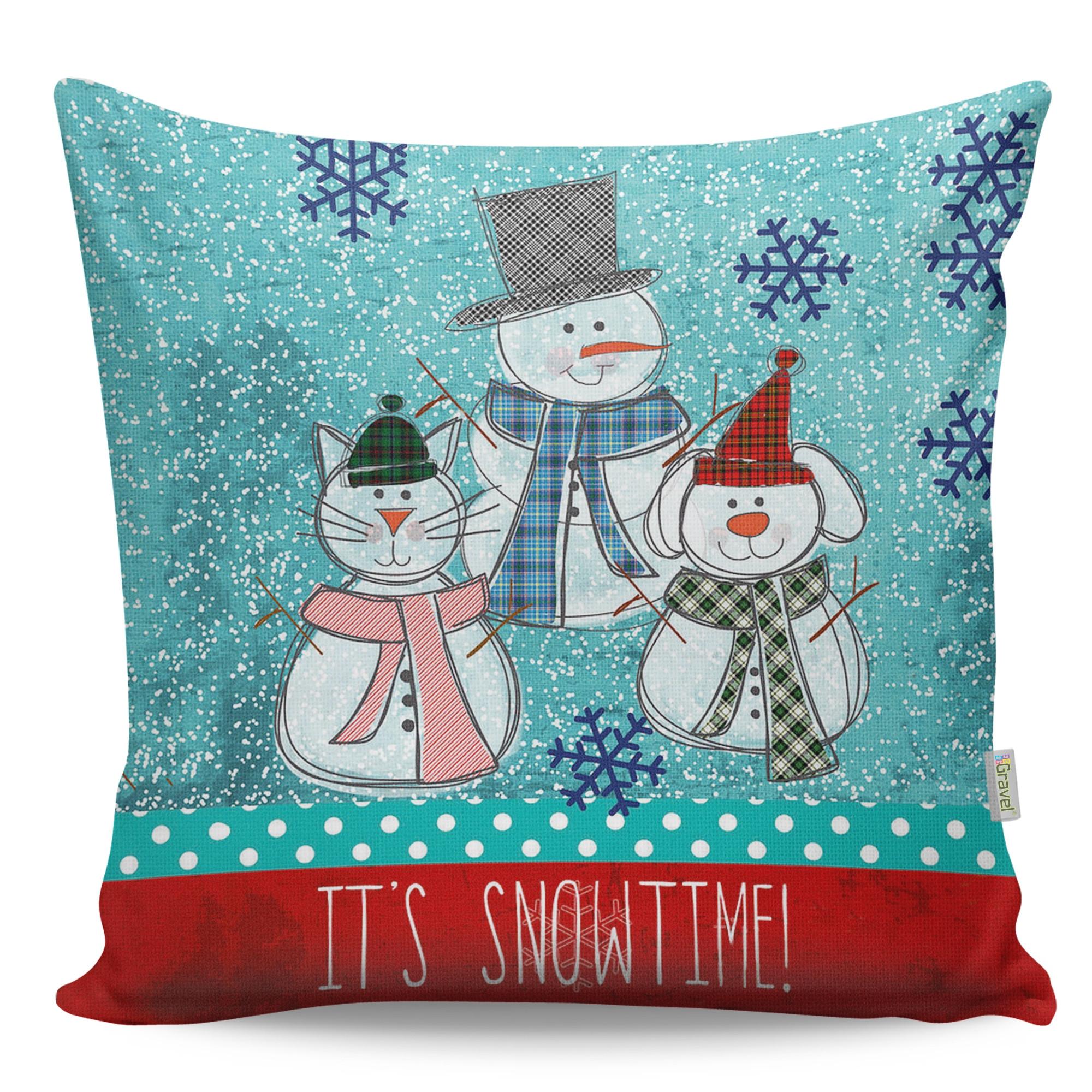 Perna decorativa Snowman Multicolor, L43xl43 cm poza