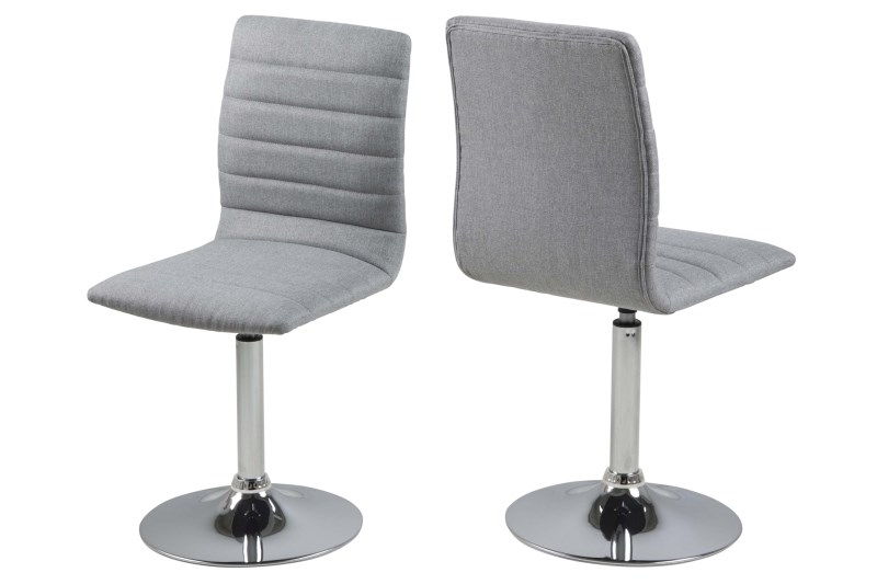 Set 2 scaune metalice tapitate cu stofa Piper Light Grey
