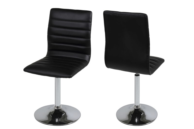 Set 2 scaune metalice tapitate cu piele ecologica Piper Black