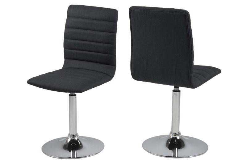 Set 2 scaune metalice tapitate cu stofa Piper Dark Grey