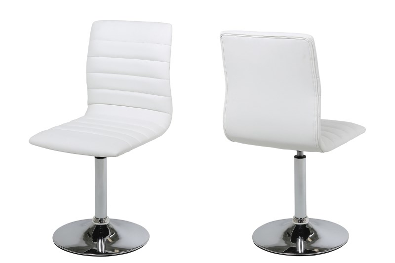 Set 2 scaune metalice tapitate cu piele ecologica Piper White
